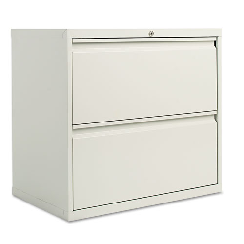 Two-Drawer Lateral File Cabinet, 30w x 18d x 28h, Light Gray. Picture 1