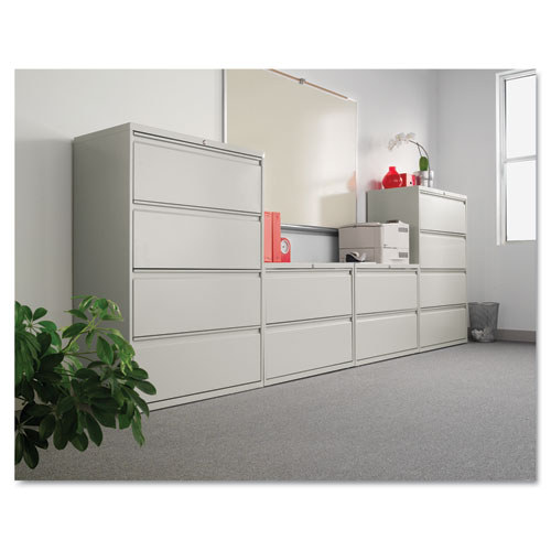 Two-Drawer Lateral File Cabinet, 30w x 18d x 28h, Light Gray. Picture 4