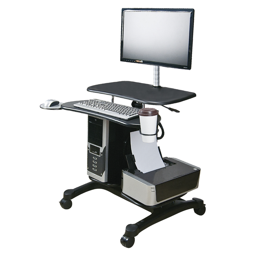 Sit Stand Mobile Pc Workstation W Monitor Mount