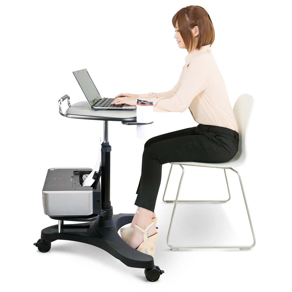 Sit/Stand Mobile Laptop Workstation w/Shelf. Picture 3