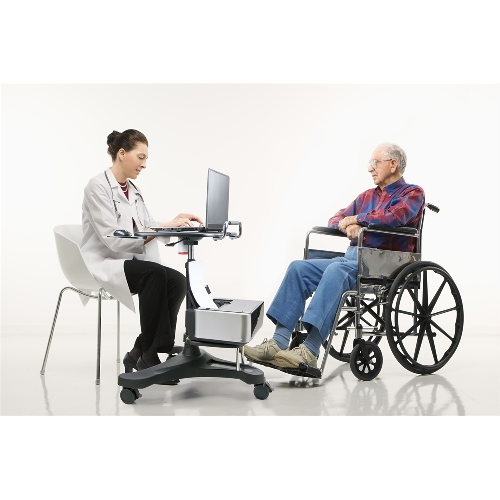 Sit/Stand Mobile Laptop Workstation w/Shelf. Picture 4