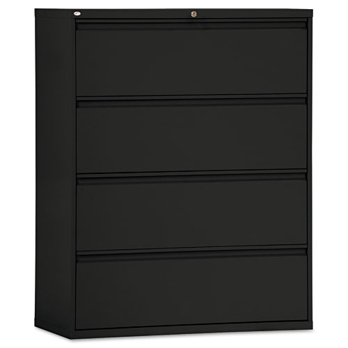 Four-Drawer Lateral File Cabinet, 42w x 18d x 52.5h, Black. Picture 1