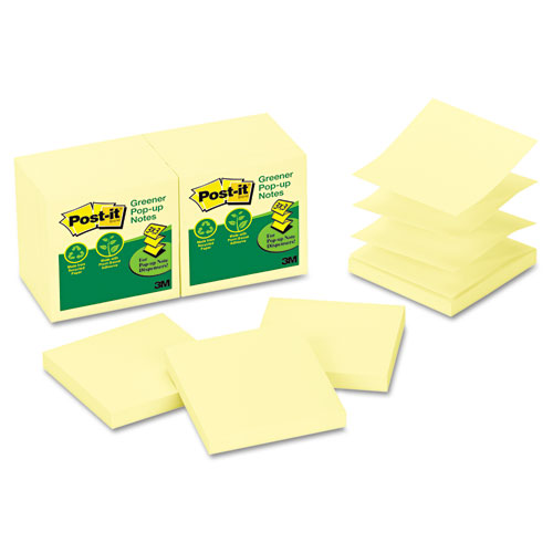 Recycled Pop-up Notes, 3 x 3, Canary Yellow, 100-Sheet, 12/Pack. Picture 1