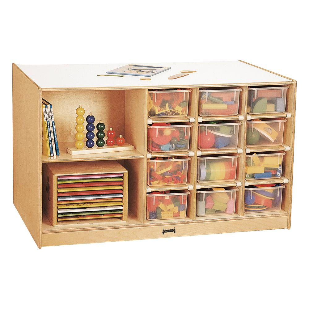 Mobile Storage Island, Clear Trays, 48w x 29d x 29-1/2h, Birch. Picture 1