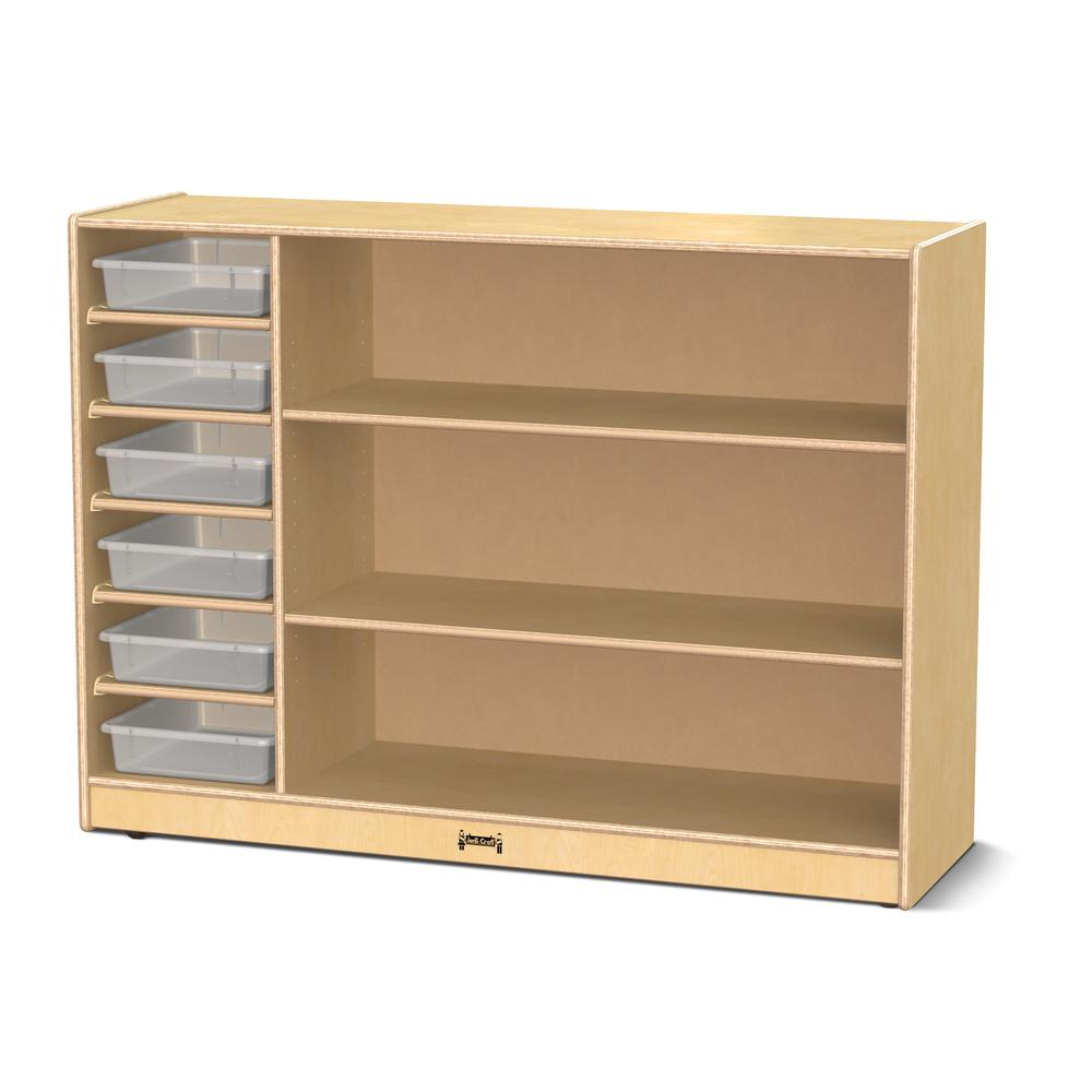 Adjustable Combo Mobile Straight-Shelf - with clear Paper-Trays. Picture 1