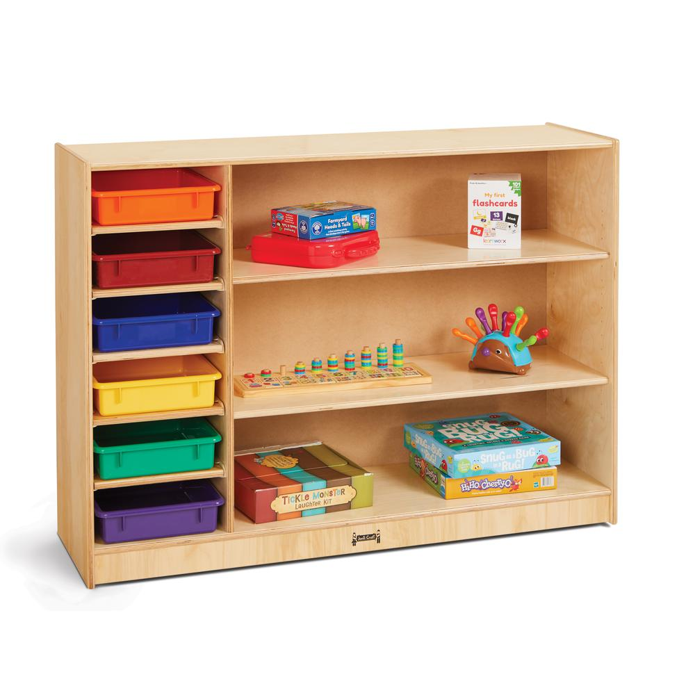 Adjustable Combo Mobile Straight-Shelf - with colored Paper-Trays. Picture 1