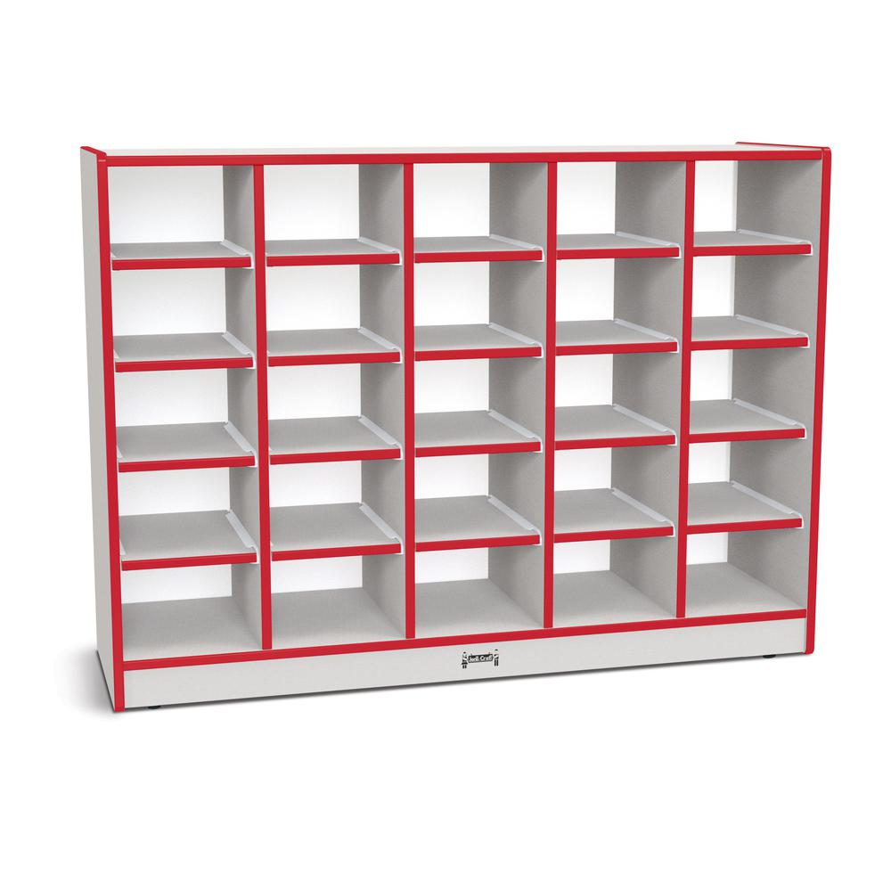 """Jonti-Craft Rainbow Accents Toddler Single Storage - 35.5"""" Height x 48"""" Width x 15"""" Depth - Red - Rubber - 1Each. Picture 1"""