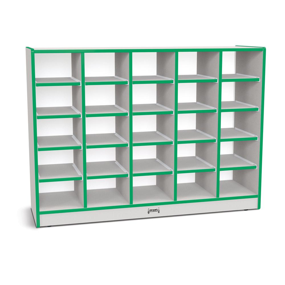 "Jonti-Craft Rainbow Accents Toddler Single Storage - 35.5"" Height x 48"" Width x 15"" Depth - Green - Rubber - 1Each. Picture 1"