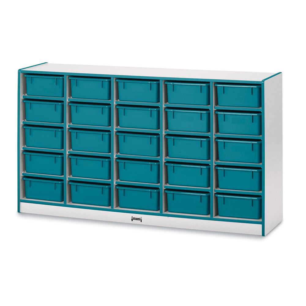 """Jonti-Craft Rainbow Accents Mobile Tub Bin Storage - 25 Compartment(s) - 35.5"""" Height x 60"""" Width x 15"""" Depth - Teal - Hard Rubber - 1Each. Picture 1"""