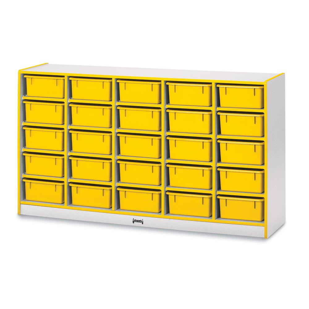 "Jonti-Craft Rainbow Accents Mobile Tub Bin Storage - 25 Compartment(s) - 35.5"" Height x 60"" Width x 15"" Depth - Yellow - Hard Rubber - 1Each. Picture 1"