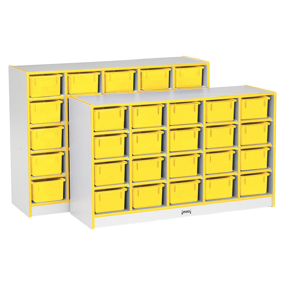 "Jonti-Craft Rainbow Accents Cubbie-trays Storage Unit - 29.5"" Height x 48"" Width x 15"" Depth - Yellow - Rubber - 1Each. Picture 1"