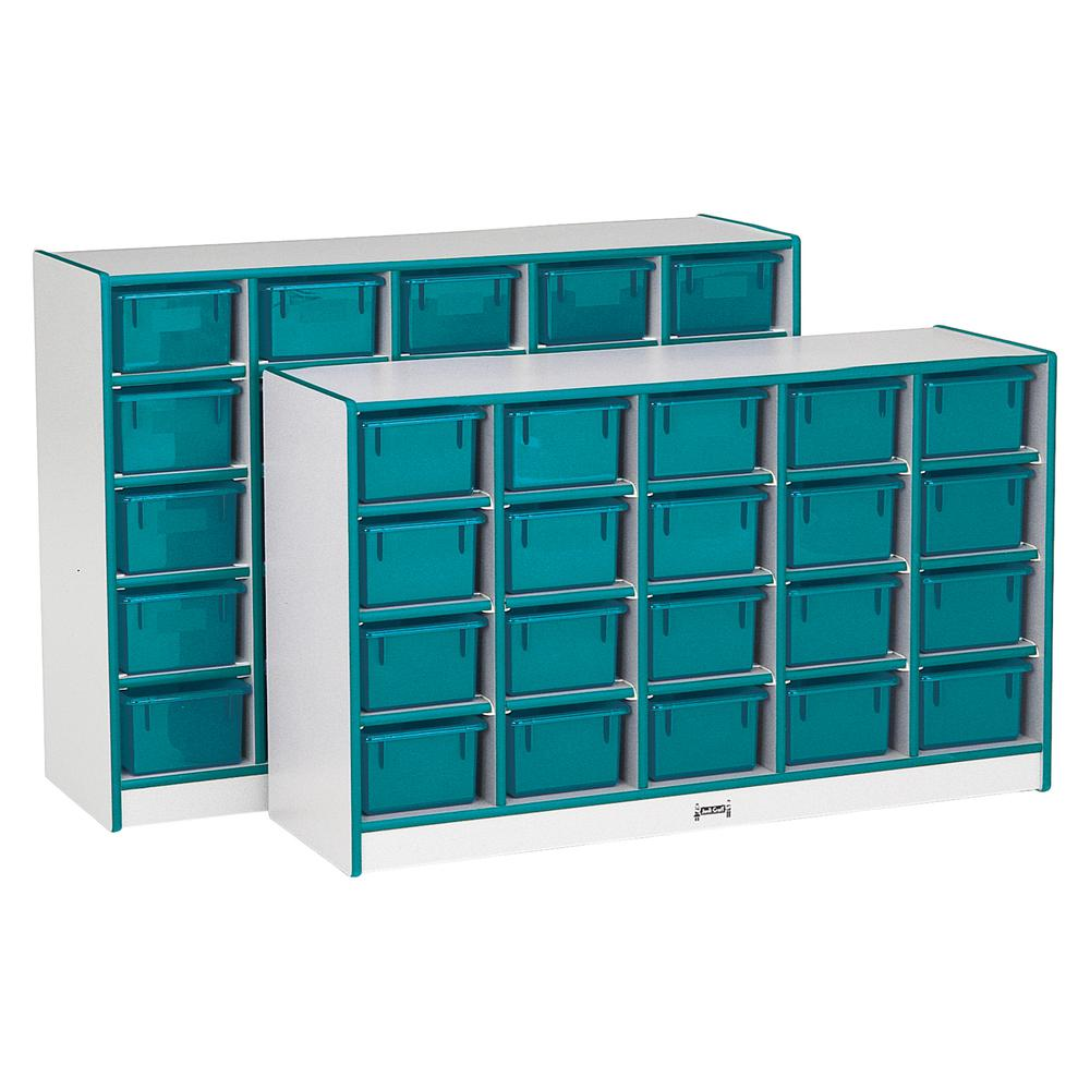 "Jonti-Craft Rainbow Accents Cubbie-trays Storage Unit - 29.5"" Height x 48"" Width x 15"" Depth - Teal - Rubber - 1Each. Picture 1"