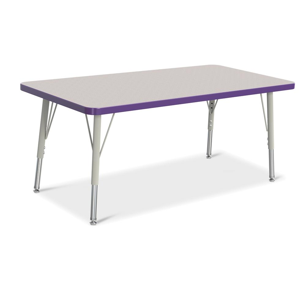 "Jonti-Craft Berries Elementary Height Color Edge Rectangle Table - Gray Rectangle Top - Four Leg Base - 4 Legs - 48"" Table Top Length x 24"" Table Top Width x 1.13"" Table Top Thickness - 24"" Height - A. Picture 1"