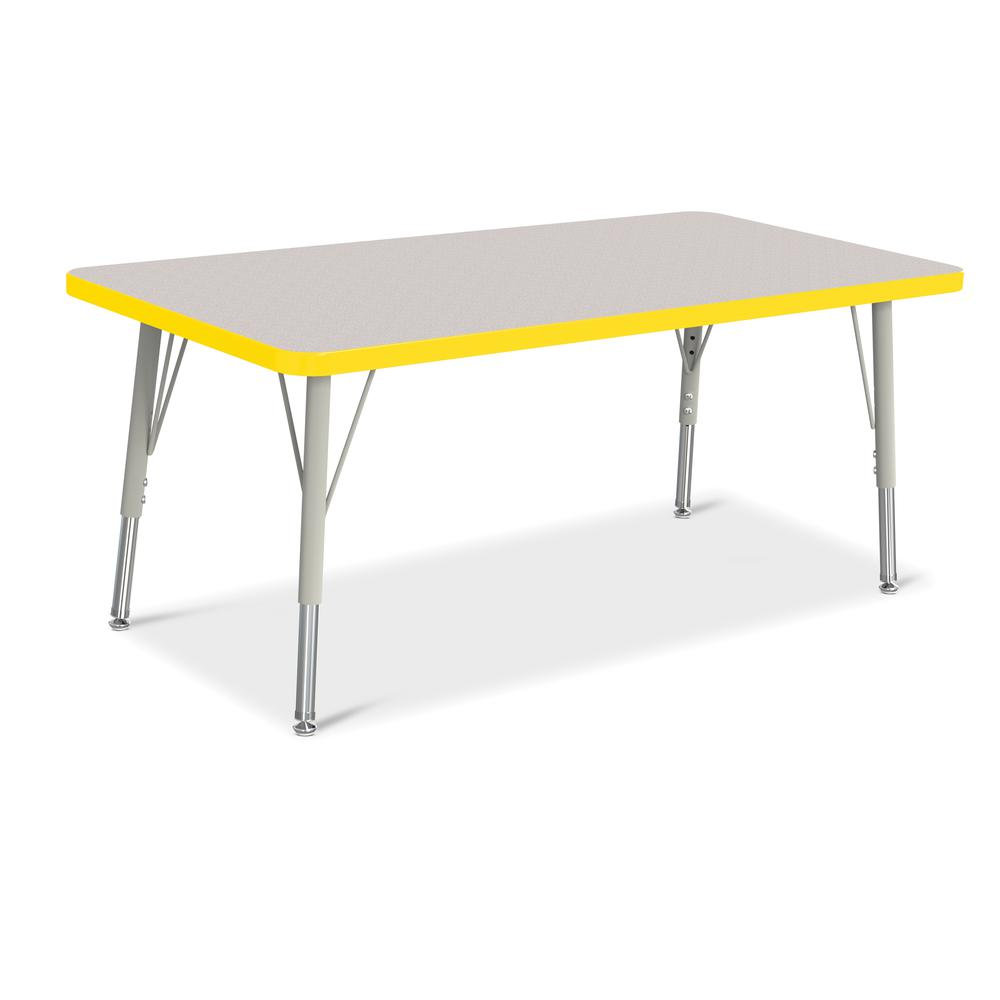 """Jonti-Craft Berries Elementary Height Color Edge Rectangle Table - Gray Rectangle Top - Four Leg Base - 4 Legs - 48"""" Table Top Length x 24"""" Table Top Width x 1.13"""" Table Top Thickness - 24"""" Height - A. Picture 1"""
