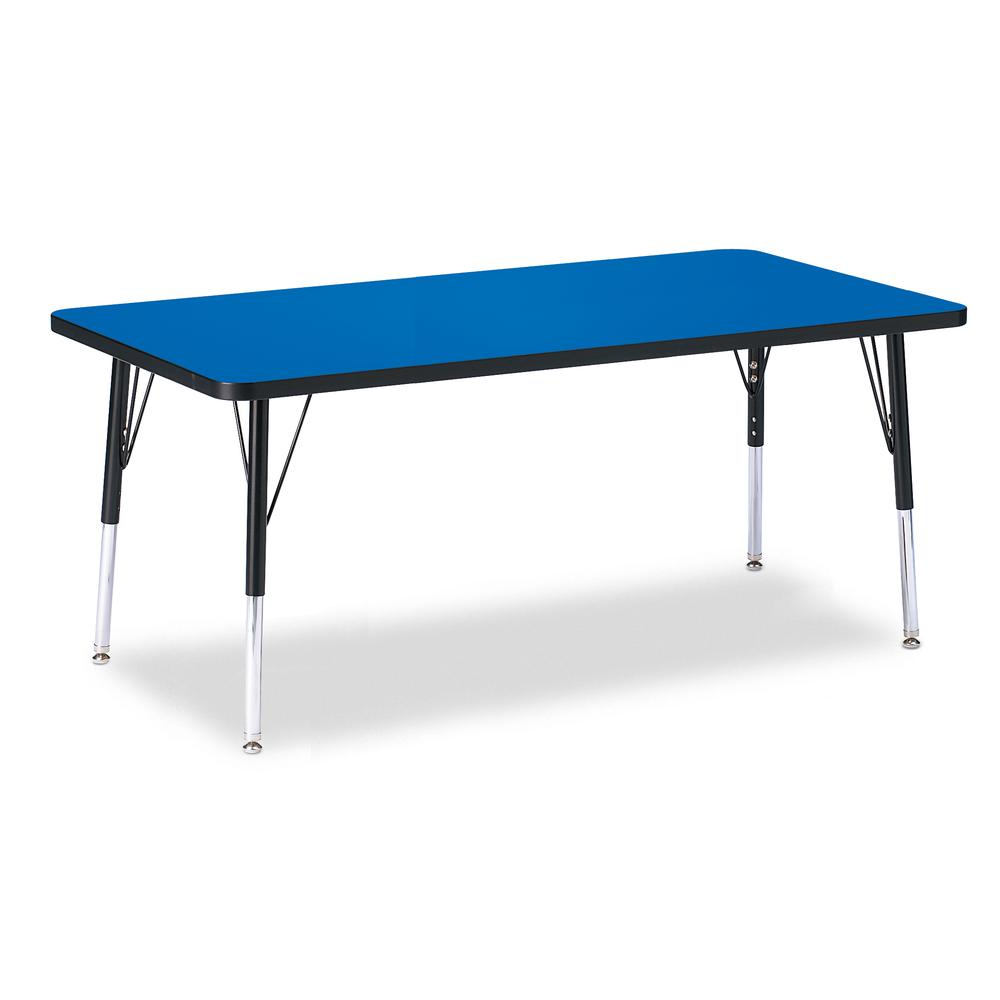 "Jonti-Craft Berries Elementary Height Color Top Rectangle Table - Blue Rectangle, Laminated Top - Four Leg Base - 4 Legs - 60"" Table Top Length x 30"" Table Top Width x 1.13"" Table Top Thickness - Asse. Picture 1"
