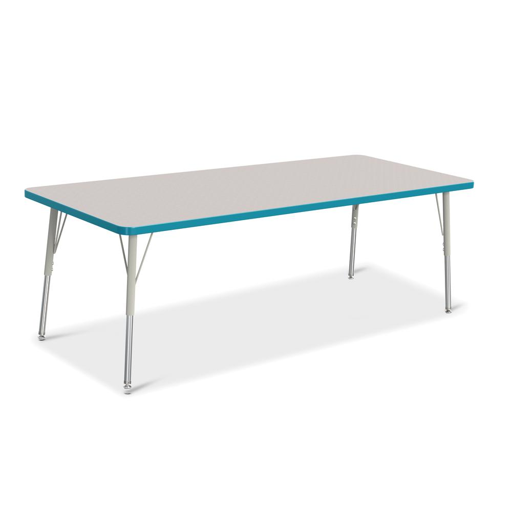 """Jonti-Craft Berries Adult Height Color Edge Rectangle Table - Laminated Rectangle, Teal Top - Four Leg Base - 4 Legs - 72"""" Table Top Length x 30"""" Table Top Width x 1.13"""" Table Top Thickness - 31"""" Heig. Picture 1"""