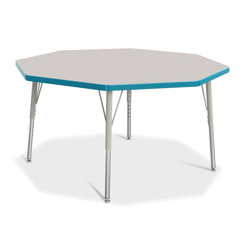 """Jonti-Craft Berries Elementary Height Color Edge Octagon Table - Laminated Octagonal, Teal Top - Four Leg Base - 4 Legs - 1.13"""" Table Top Thickness x 48"""" Table Top Diameter - 24"""" Height - Assembly Req. Picture 1"""