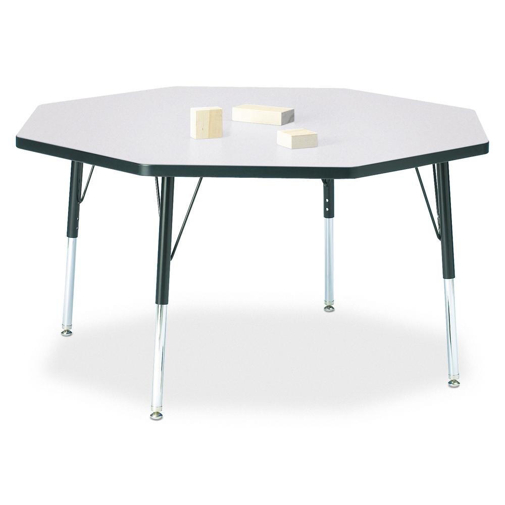 """Jonti-Craft Berries Elementary Height Color Edge Octagon Table - Black Octagonal, Laminated Top - Four Leg Base - 4 Legs - 1.13"""" Table Top Thickness x 48"""" Table Top Diameter - 24"""" Height - Assembly Re. Picture 1"""