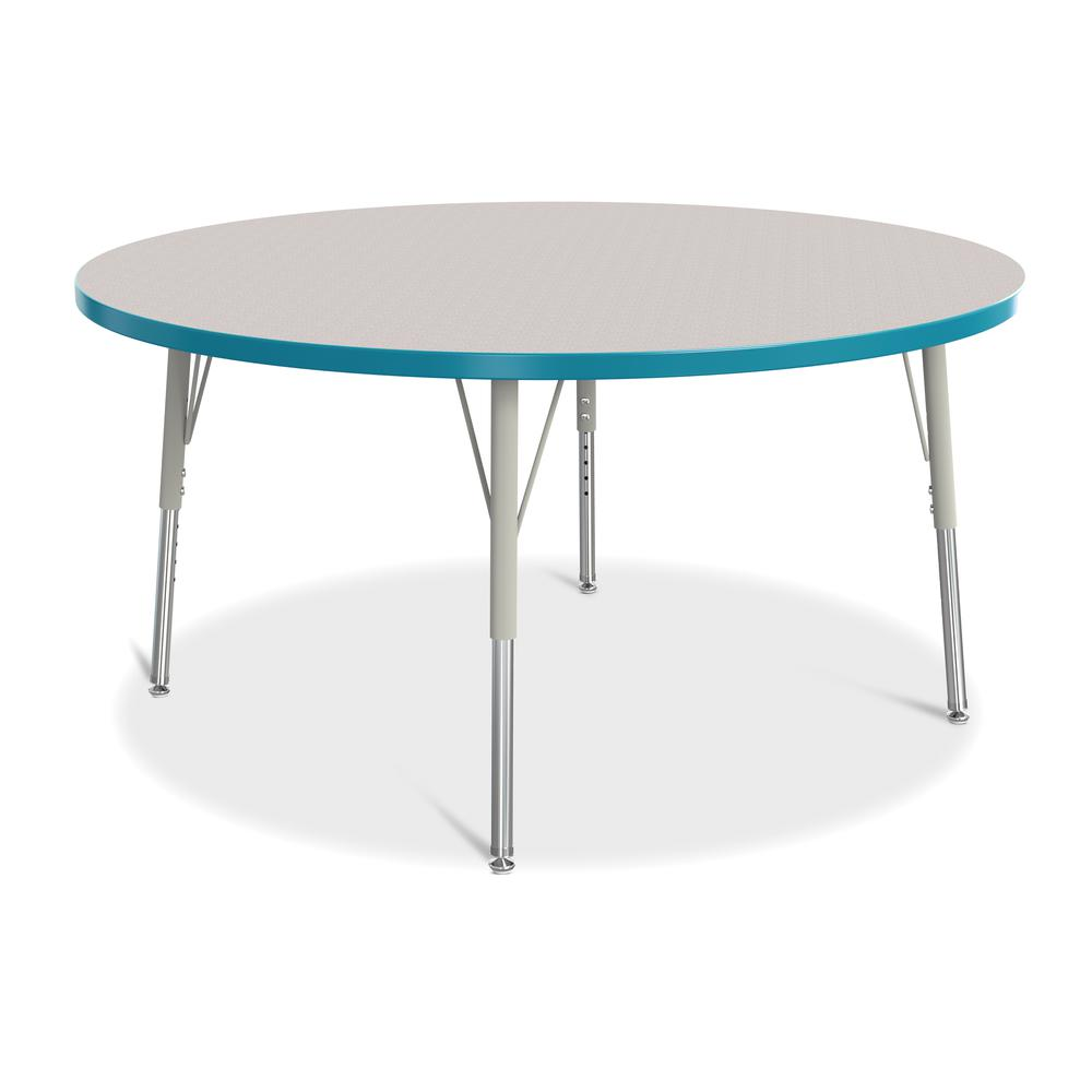 "Jonti-Craft Berries Elementary Height Color Edge Round Table - Teal Round Top - Four Leg Base - 4 Legs - 1.13"" Table Top Thickness x 48"" Table Top Diameter - 24"" Height - Assembly Required - Freckled . Picture 1"