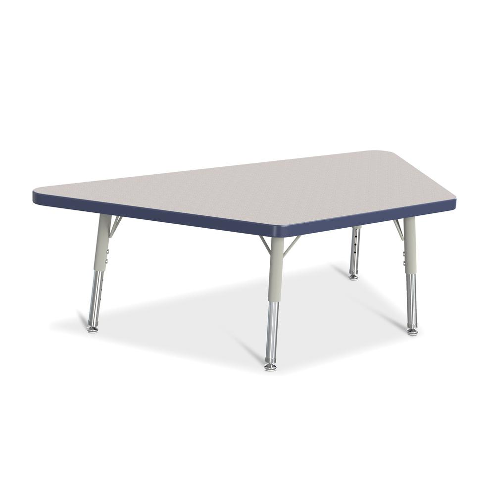 """Jonti-Craft Berries Toddler-size Gray Top Trapezoid Table - Laminated Trapezoid, Navy Top - Four Leg Base - 4 Legs - 48"""" Table Top Length x 24"""" Table Top Width x 1.13"""" Table Top Thickness - 15"""" Height. Picture 1"""
