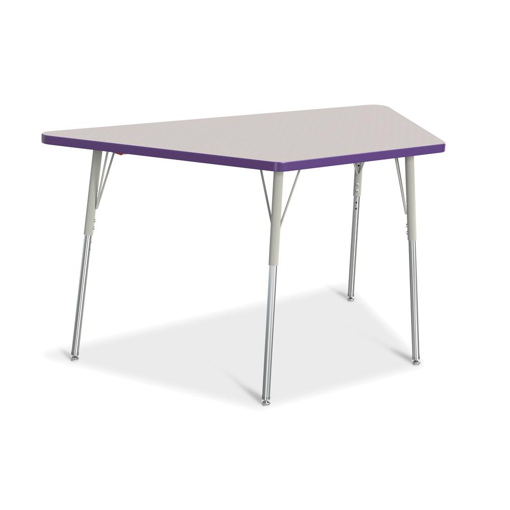 """Jonti-Craft Berries Adult-Size Gray Laminate Trapezoid Table - Laminated Trapezoid, Purple Top - Four Leg Base - 4 Legs - 60"""" Table Top Length x 30"""" Table Top Width x 1.13"""" Table Top Thickness - 31"""" H. Picture 1"""