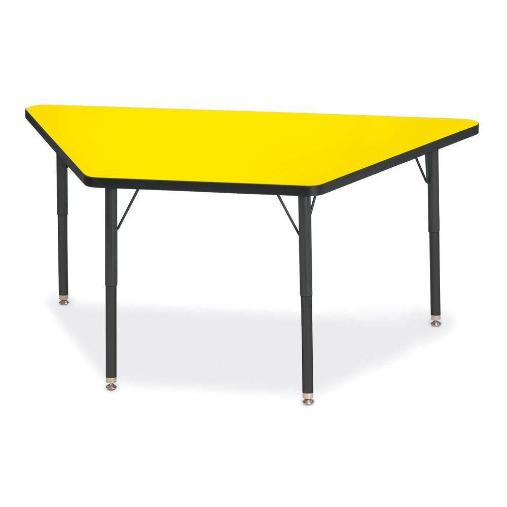"""Jonti-Craft Berries Adult-Size Classic Color Trapezoid Table - Laminated Trapezoid, Yellow Top - Four Leg Base - 4 Legs - 60"""" Table Top Length x 30"""" Table Top Width x 1.13"""" Table Top Thickness - 31"""" H. Picture 1"""