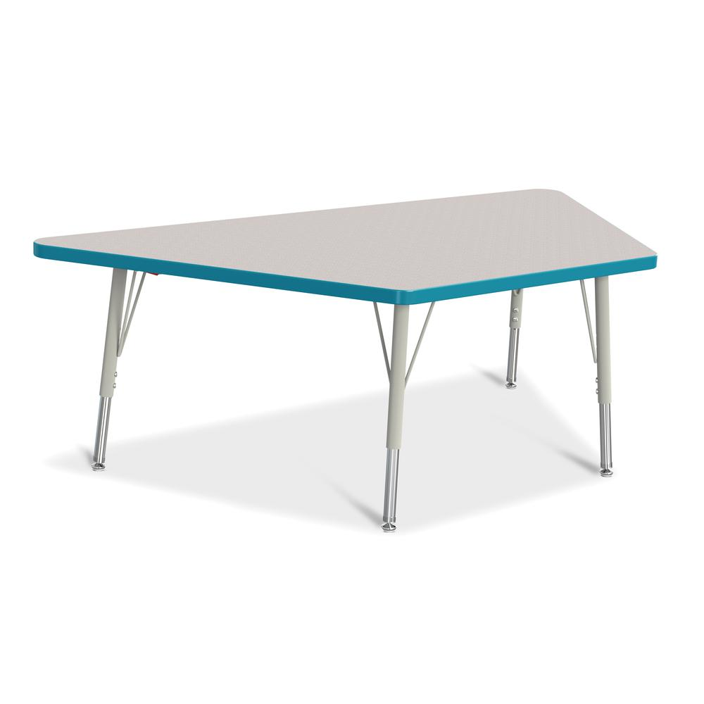 "Jonti-Craft Berries Elementary Height Prism Edge Trapezoid Table - Laminated Trapezoid, Teal Top - Four Leg Base - 4 Legs - 60"" Table Top Length x 30"" Table Top Width x 1.13"" Table Top Thickness - 24"". Picture 1"