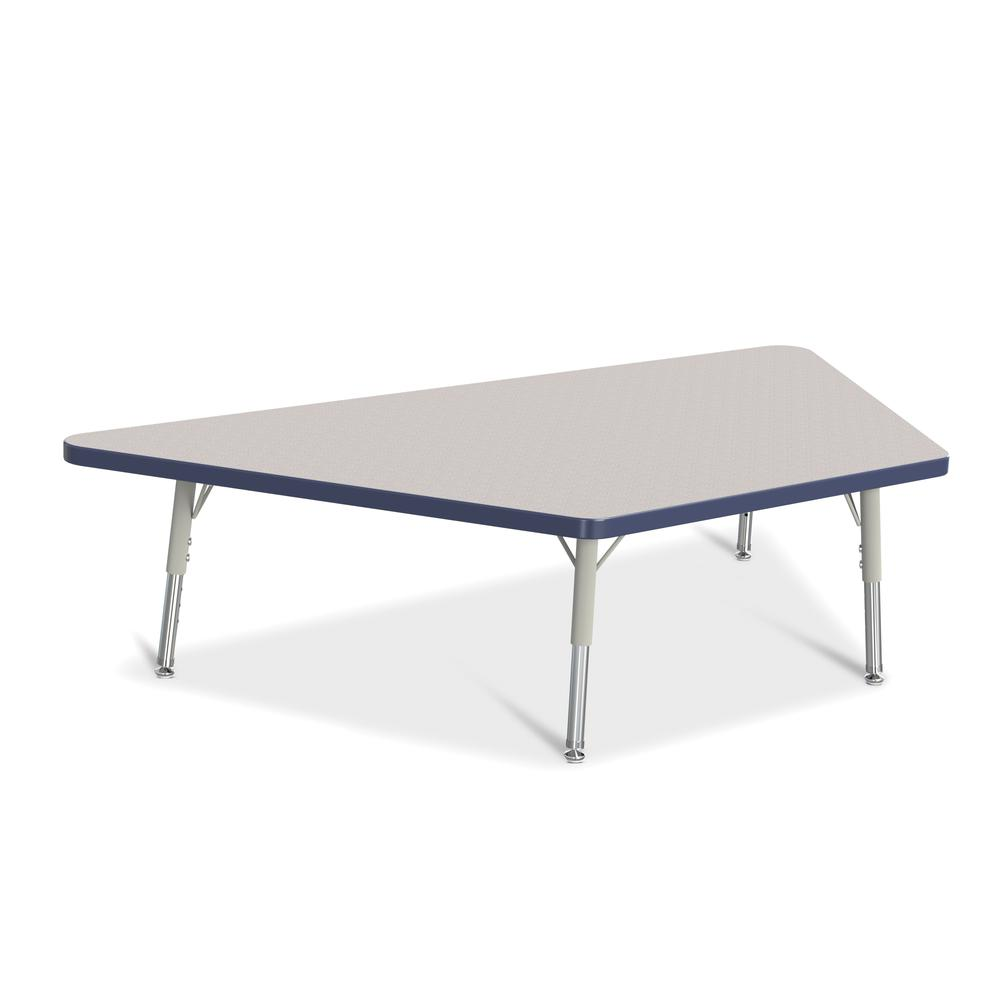 """Jonti-Craft Berries Toddler Size Gray Top Trapezoid Table - Laminated Trapezoid, Navy Top - Four Leg Base - 4 Legs - 60"""" Table Top Length x 30"""" Table Top Width x 1.13"""" Table Top Thickness - 15"""" Height. Picture 1"""