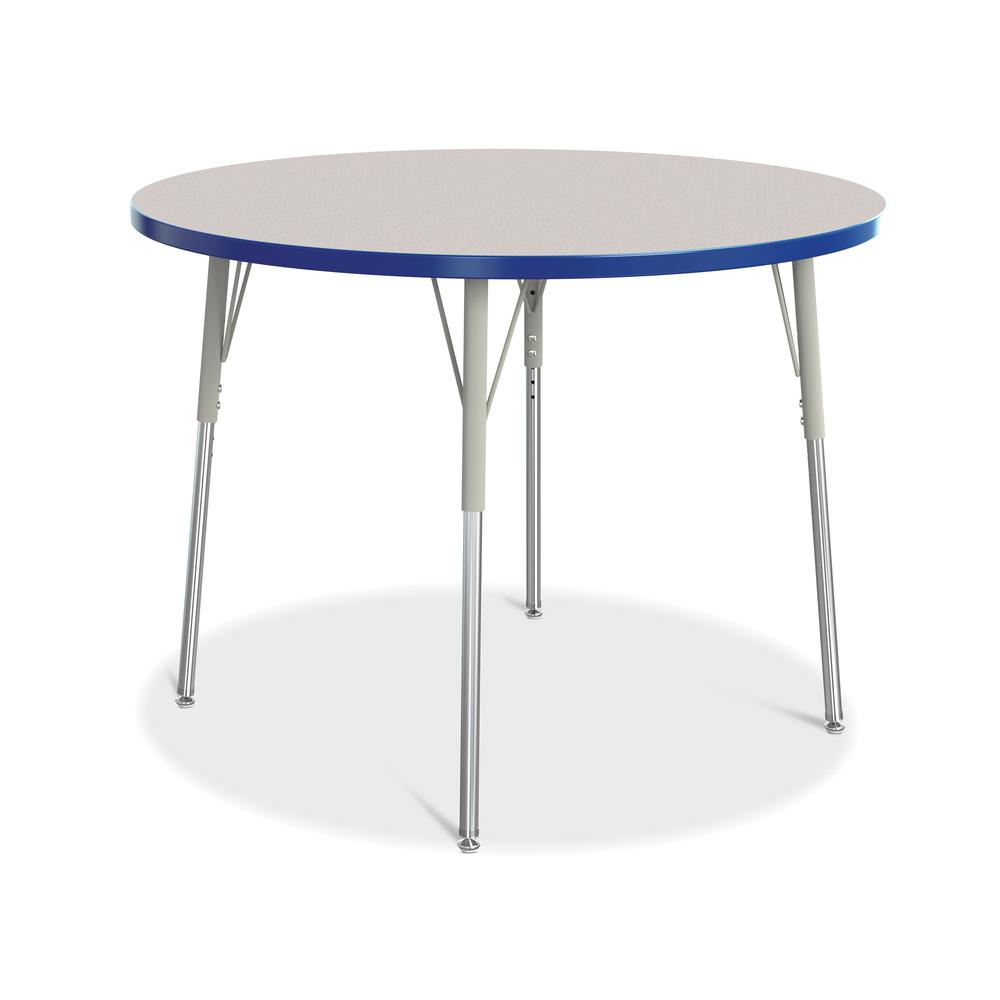 "Jonti-Craft Berries Adult Height Color Edge Round Table - Gray Round, Laminated Top - Four Leg Base - 4 Legs - 1.13"" Table Top Thickness x 42"" Table Top Diameter - 31"" Height - Assembly Required - Pow. Picture 1"