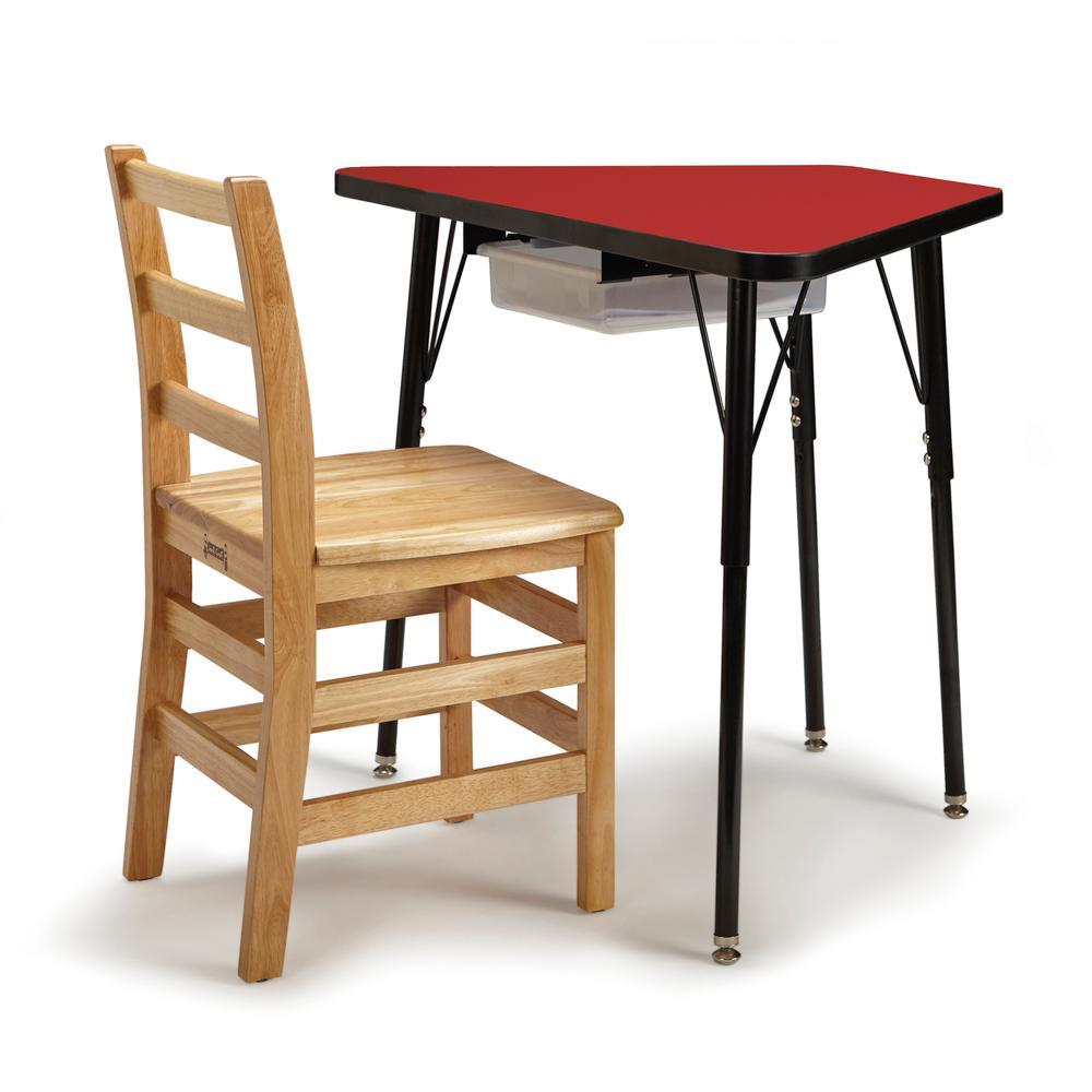 Tall Trapezoid Desk Red Black All Black