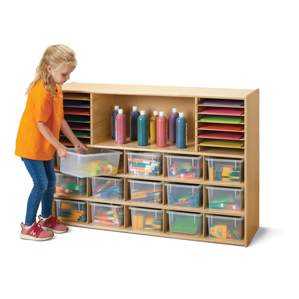 Sectional Cubbie-Tray Storage - with Clear Bins. Picture 1