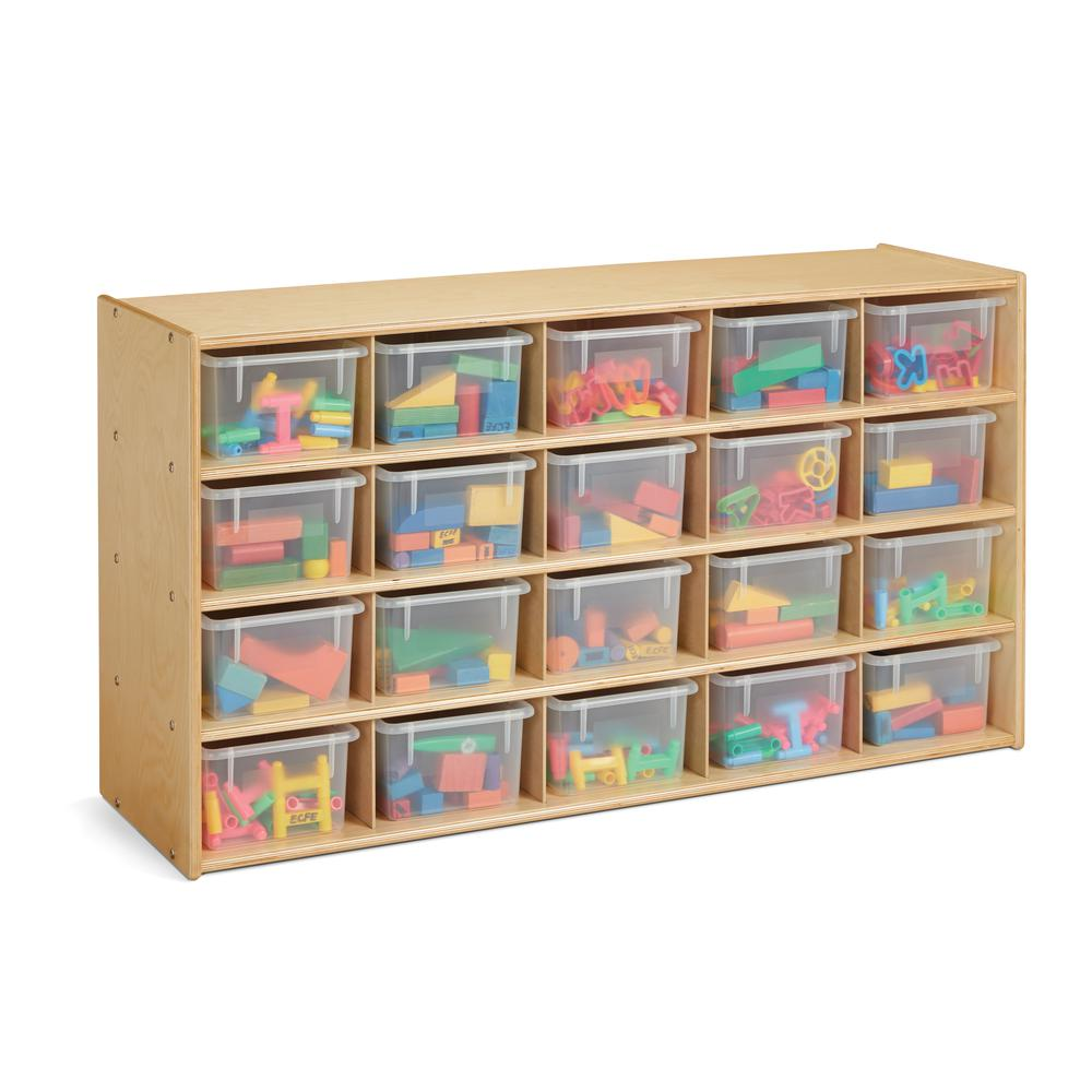 20 Cubbie-Tray Storage - with Clear Bins. Picture 1