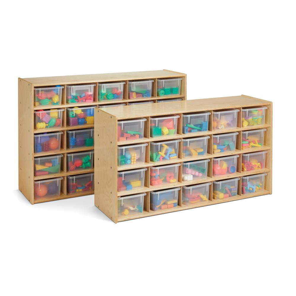 20 Cubbie-Tray Storage - with Clear Bins. Picture 2