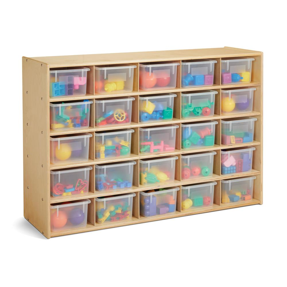25 Cubbie-Tray Storage - with Clear Bins. Picture 2