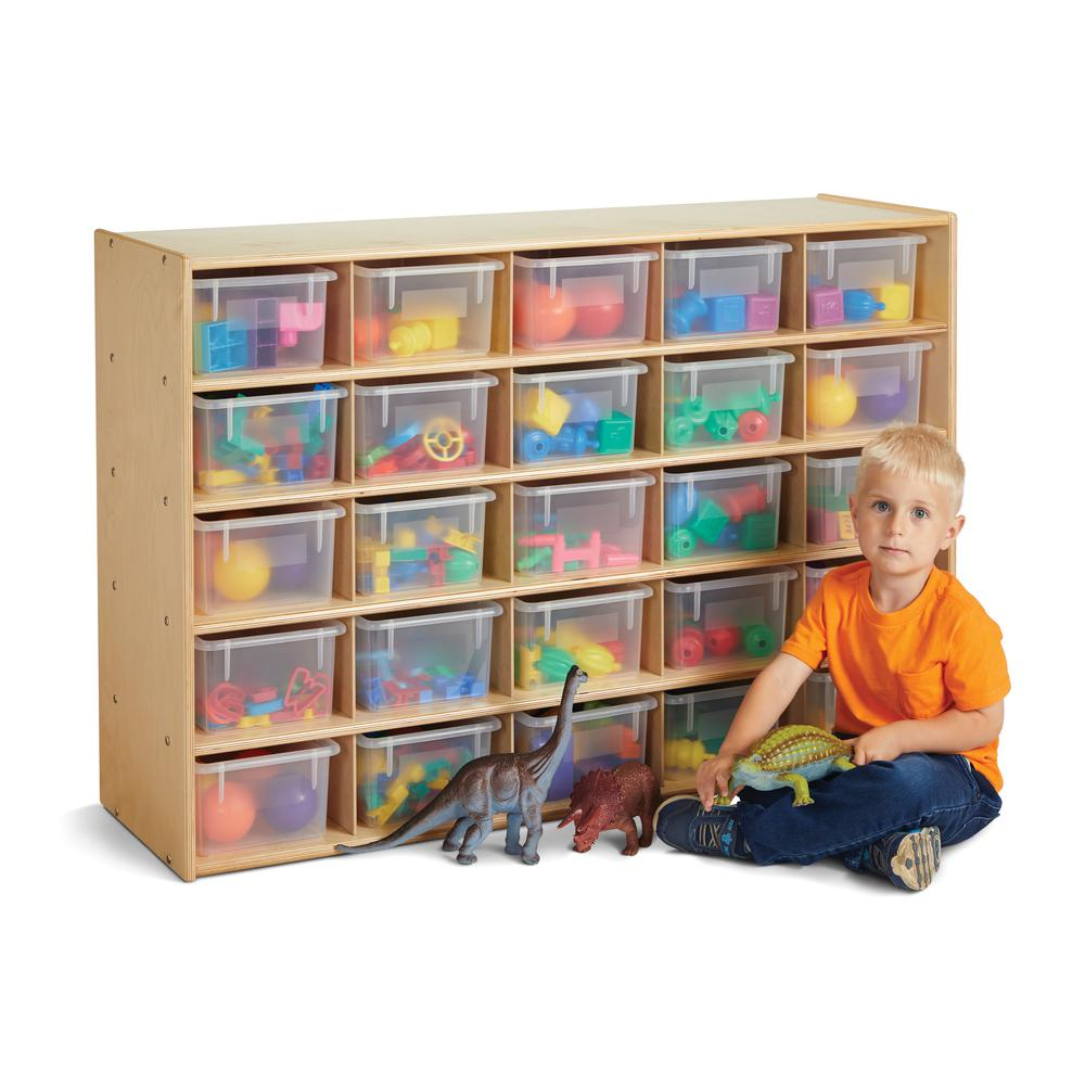 25 Cubbie-Tray Storage - with Clear Bins. Picture 1
