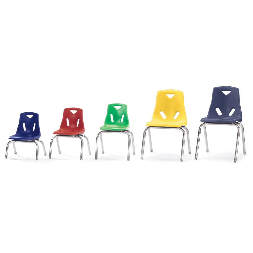"Stacking Chairs with Chrome-Plated Legs - 14"" Ht - Set of 6 - Red. Picture 4"