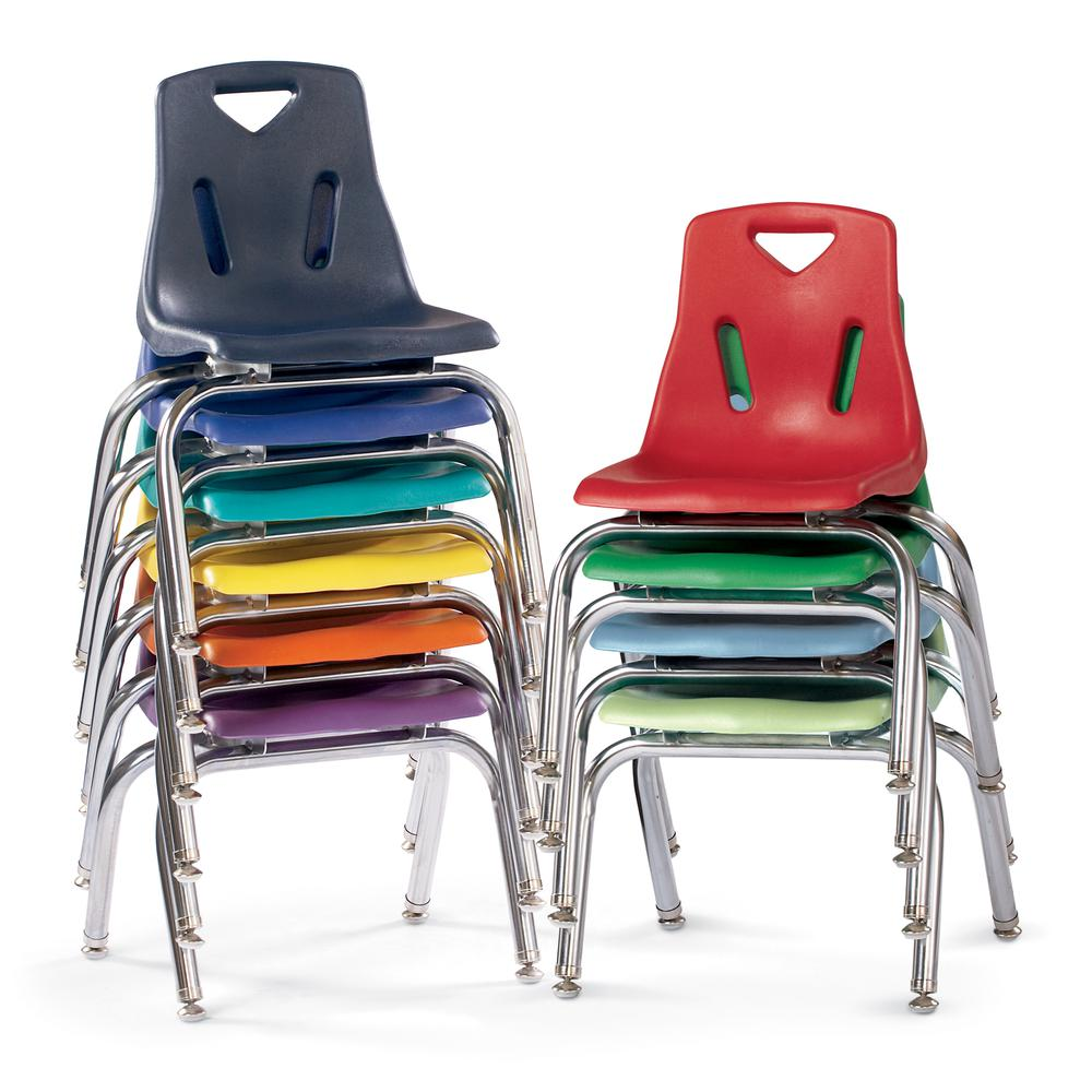 "Stacking Chairs with Chrome-Plated Legs - 14"" Ht - Set of 6 - Red. Picture 2"