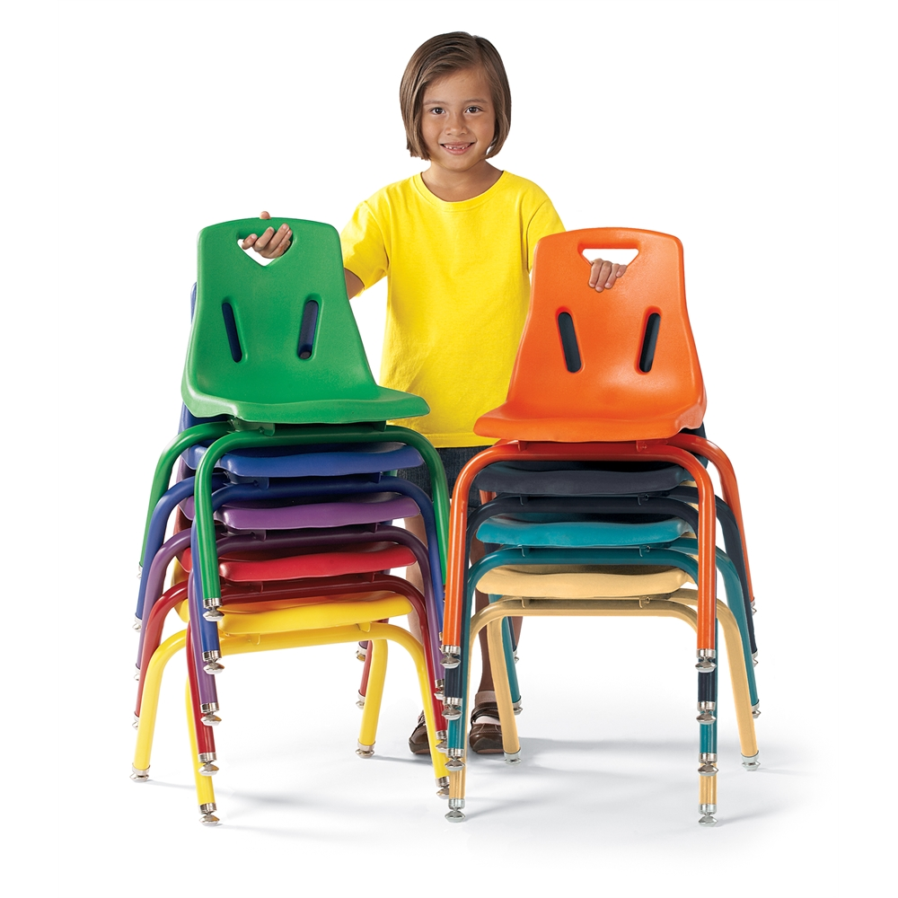 """Stacking Chairs with Powder-Coated Legs - 16"""" Ht - Set of 6 - Blue"""
