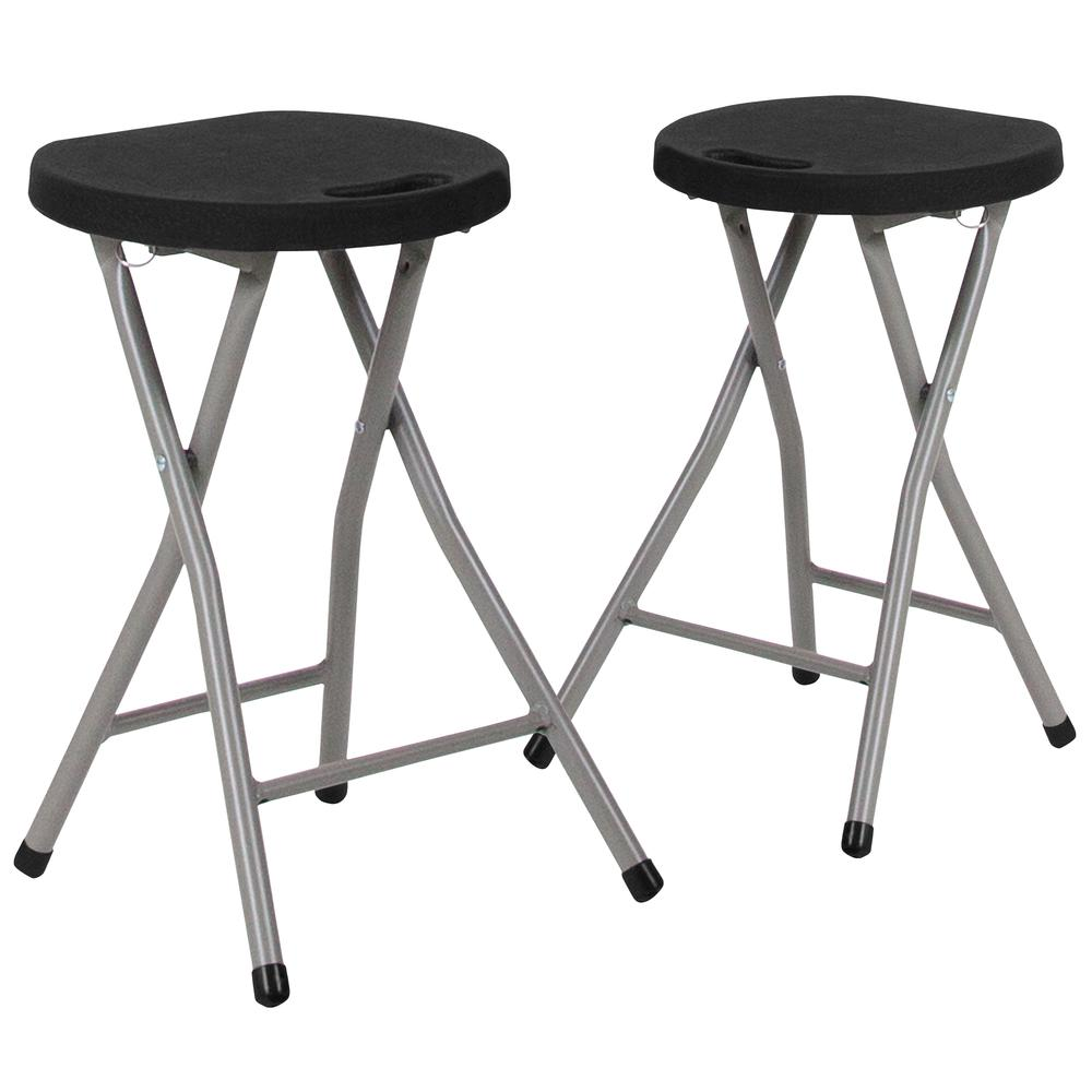 Foldable Stool with Black Plastic Seat and Titanium Gray Frame. Picture 1