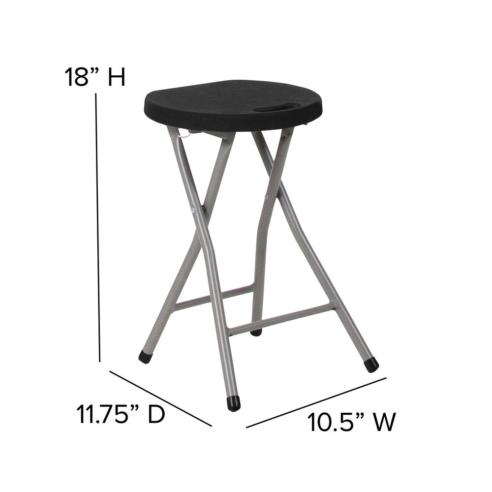 Foldable Stool with Black Plastic Seat and Titanium Gray Frame. Picture 2