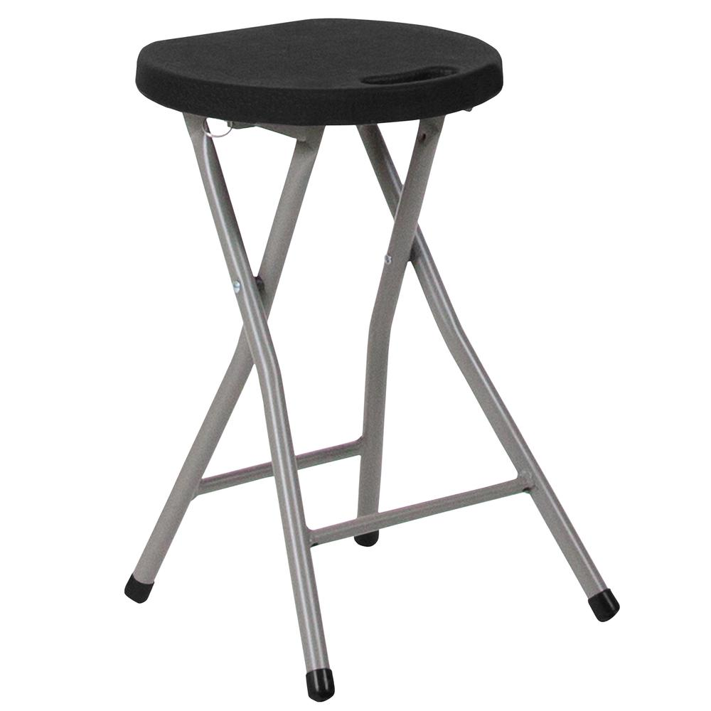 Foldable Stool with Black Plastic Seat and Titanium Gray Frame. Picture 3