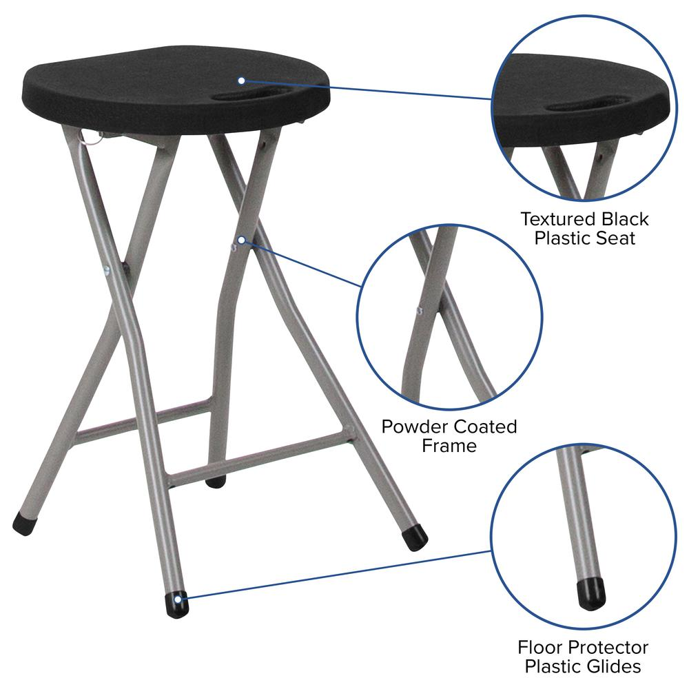 Foldable Stool with Black Plastic Seat and Titanium Gray Frame. Picture 5