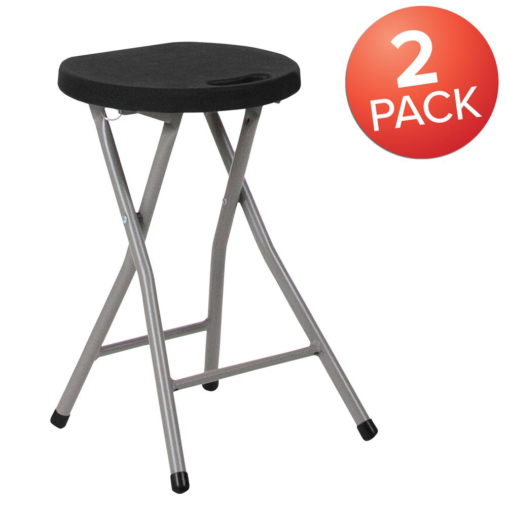 Foldable Stool with Black Plastic Seat and Titanium Gray Frame. Picture 7