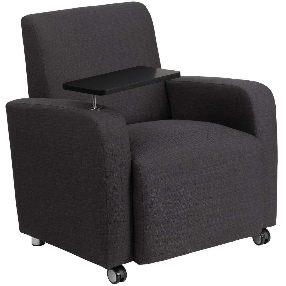 Gray Fabric Guest Chair With Tablet Arm And Front Wheel