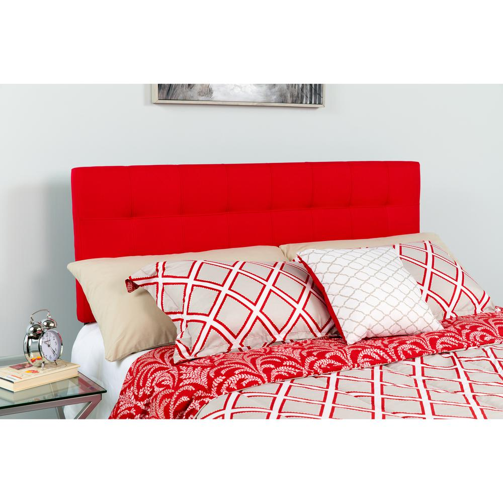 Quilted Tufted Upholstered King Size Headboard In Red Fabric