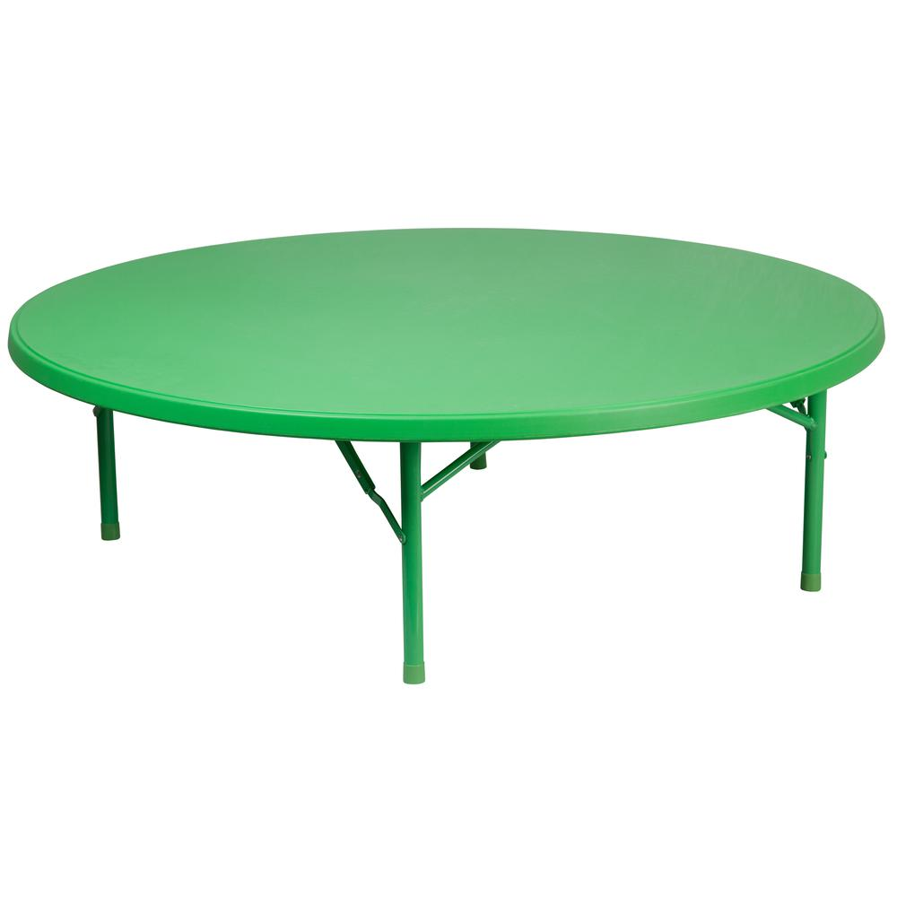 60 39 39 round kid 39 s green plastic folding table. Black Bedroom Furniture Sets. Home Design Ideas