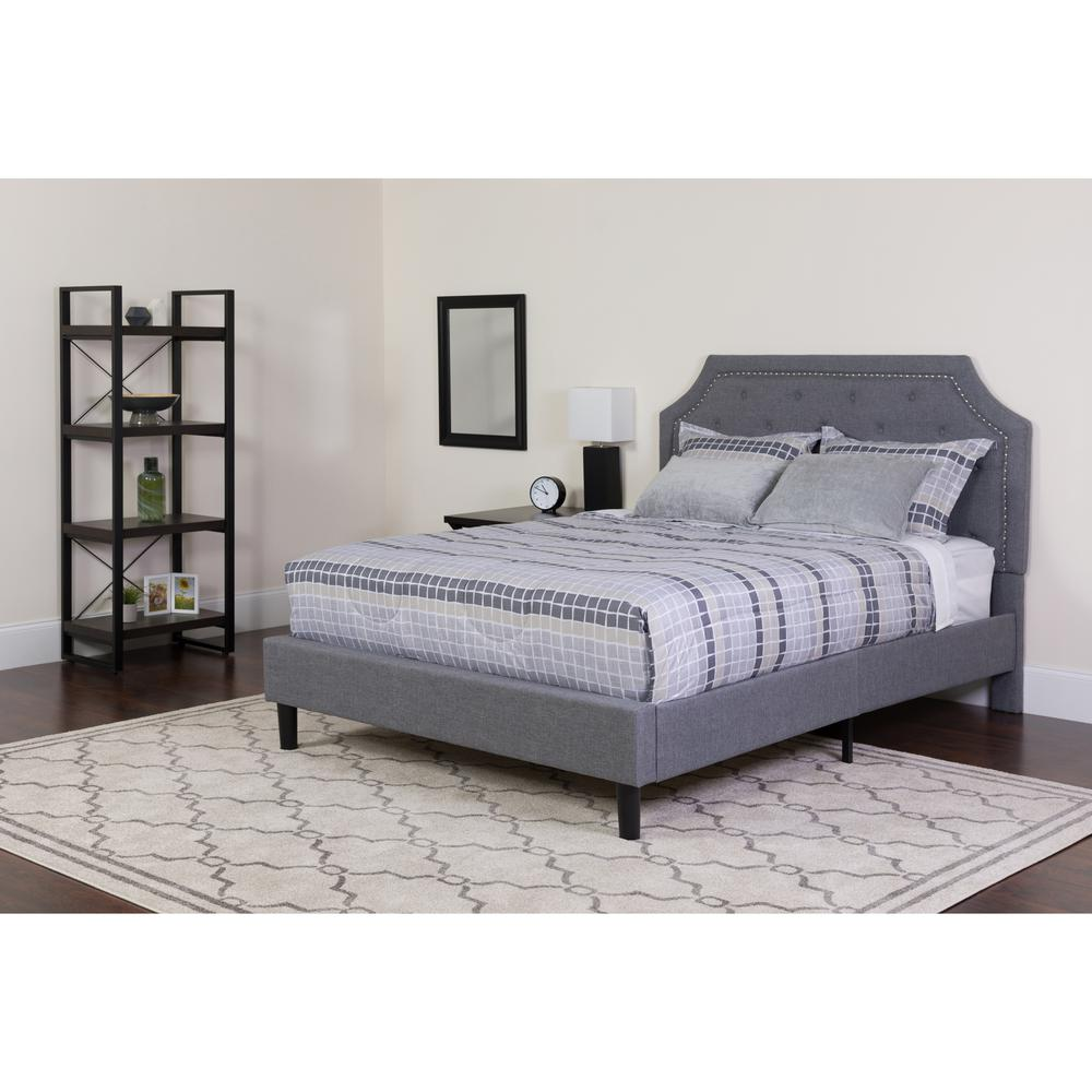 283 Best Images About Fabric Bed Headboards On Pinterest: King Size Arched Tufted Upholstered Platform Bed In Light