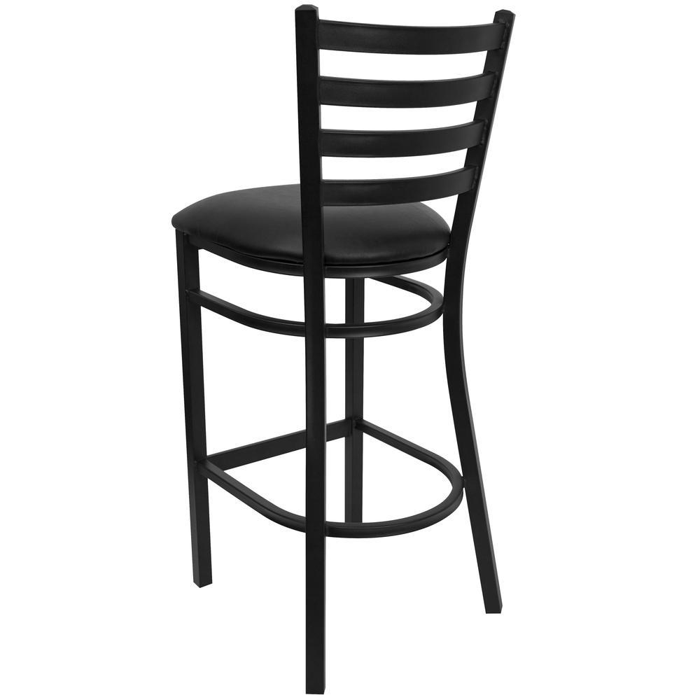 Black Ladder Back Metal Restaurant Barstool Black Vinyl Seat