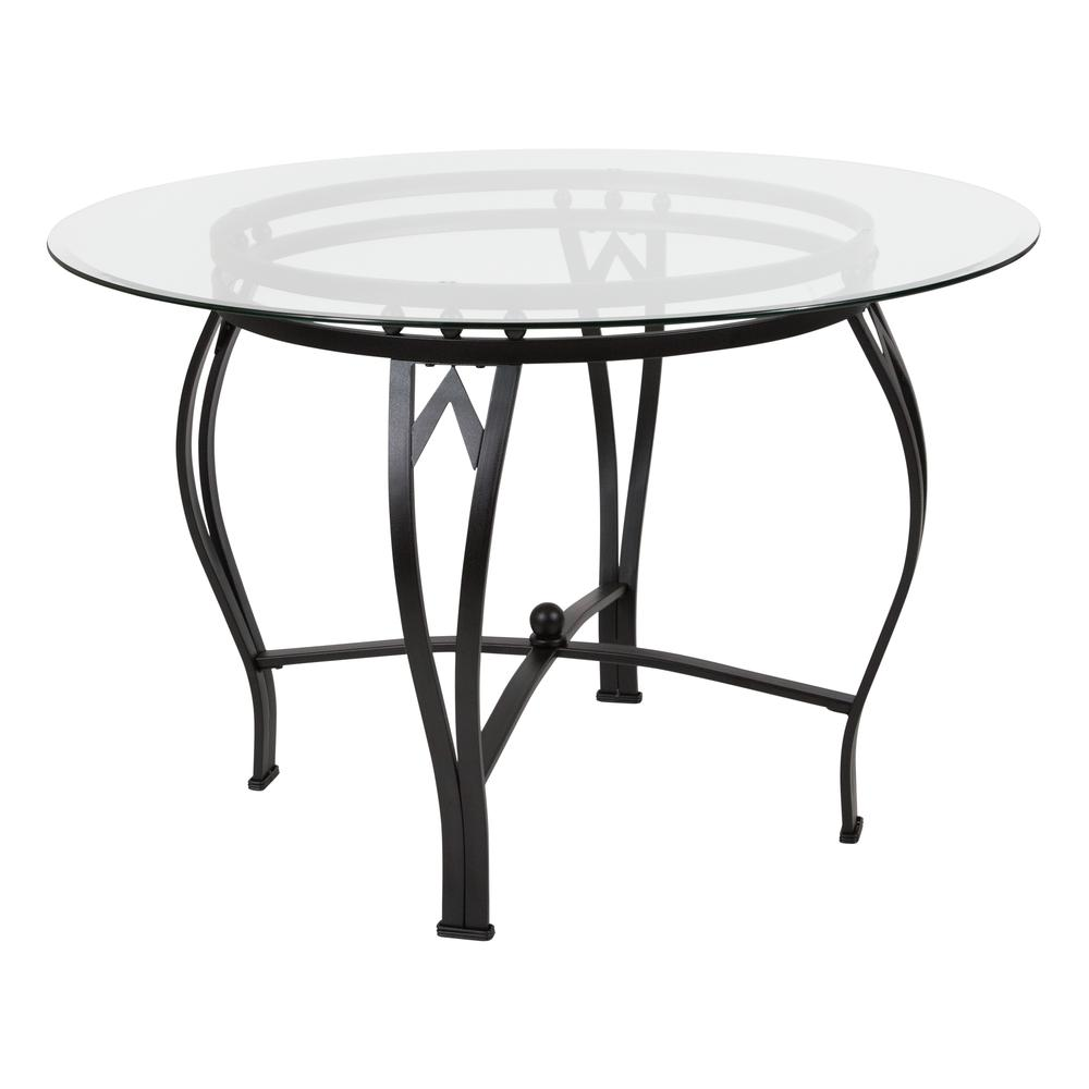45 Round Glass Dining Table With Bowed Out Black Metal Frame