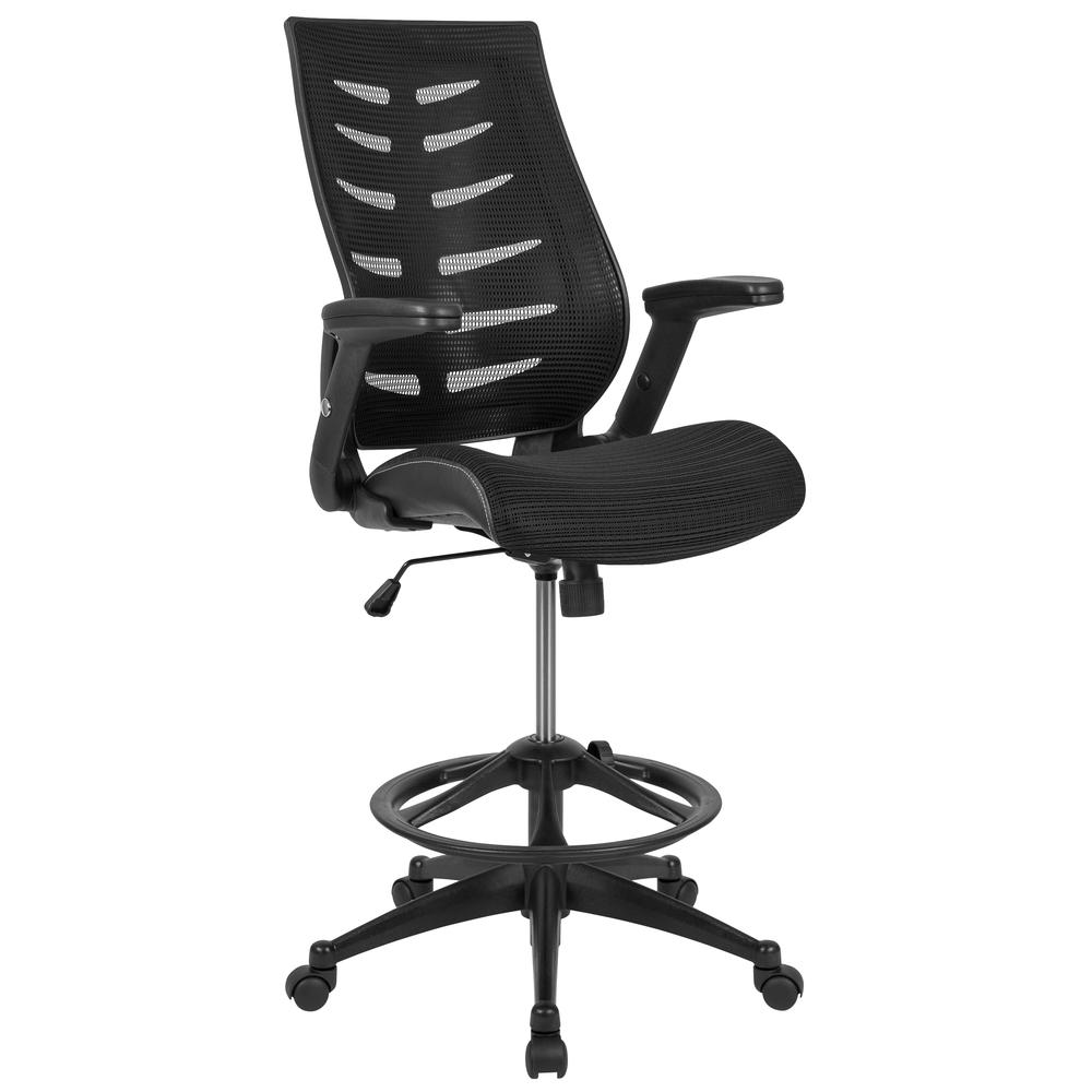 High Back Black Mesh Spine-Back Ergonomic Drafting Chair with Adjustable Foot Ring and Adjustable Flip-Up Arms. Picture 1